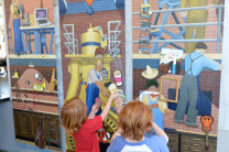 Youngsters recompose a Grant Wood mural