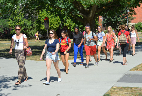 Students head to class on central campus
