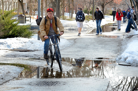 puddle cyclist