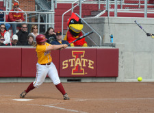 Softball action vs. Oklahoma