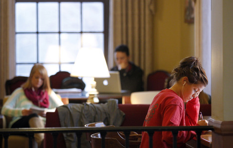 Studying in the MU west lounge