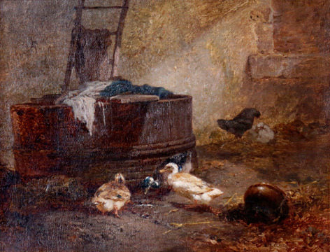 19th Century painting of ducks by V. Monselm