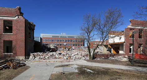 Davidson Hall partially demolished