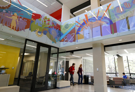 Portion of 16-piece glass mural in Lagomarcino north atrium
