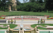 "cropped image of low wall with ""Iowa State University"" engraved"