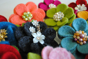 Fabric flowers by Sarah Bierstedt.
