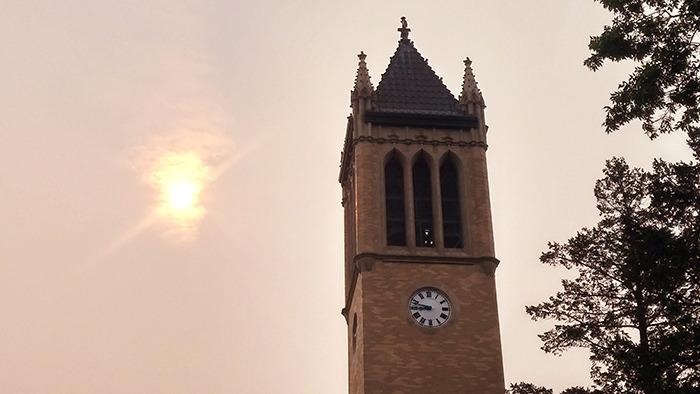 Filtered sunlight above the campanile.