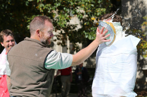 Faculty participate in Pie in the Face fundraiser (after).