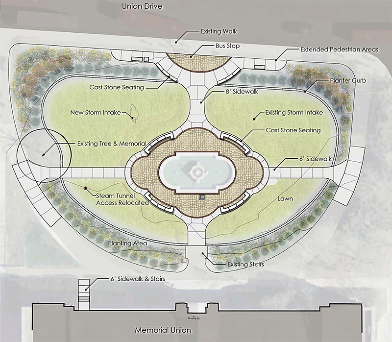 Schematic of design for fountain plaza project.
