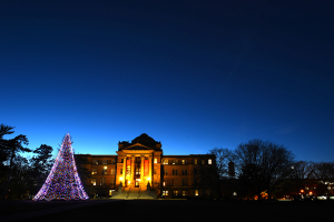Holiday tree at dusk outside Beardshear Hall