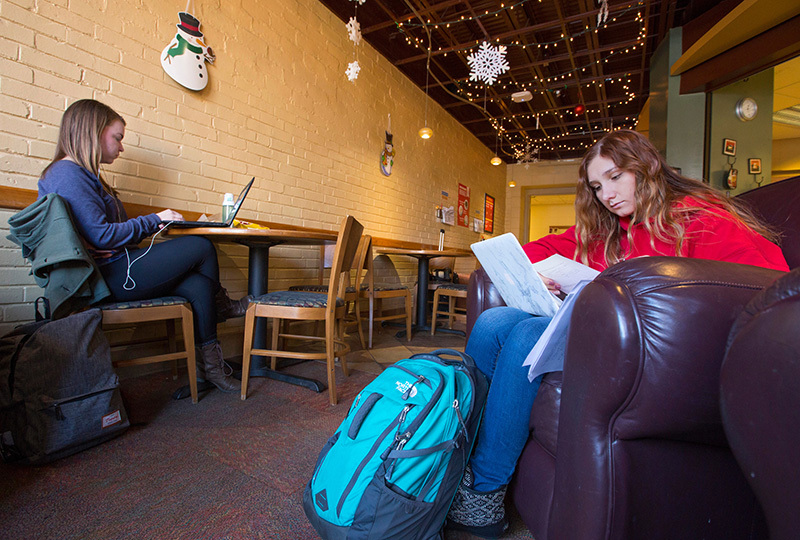 Two female students study in a campus cafe