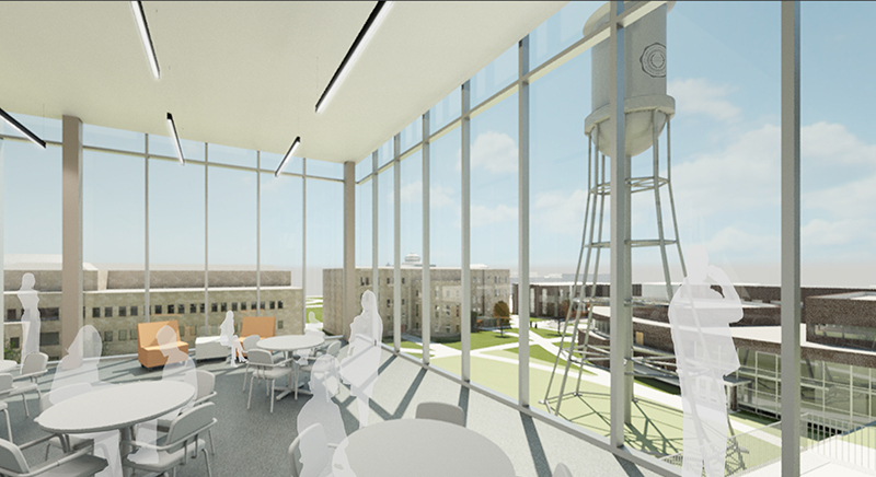 Student Innovation Center view from top floor schematic