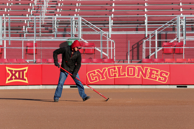 Grounds work at ISU softball field.
