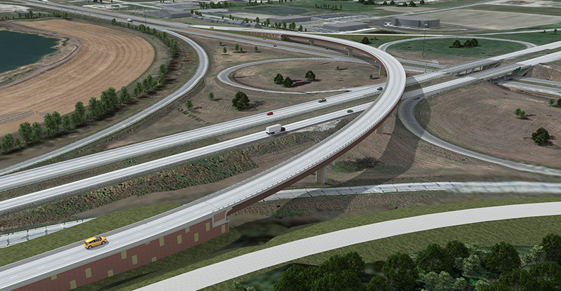 Aerial view of flyover ramp at I-35/30 interchange
