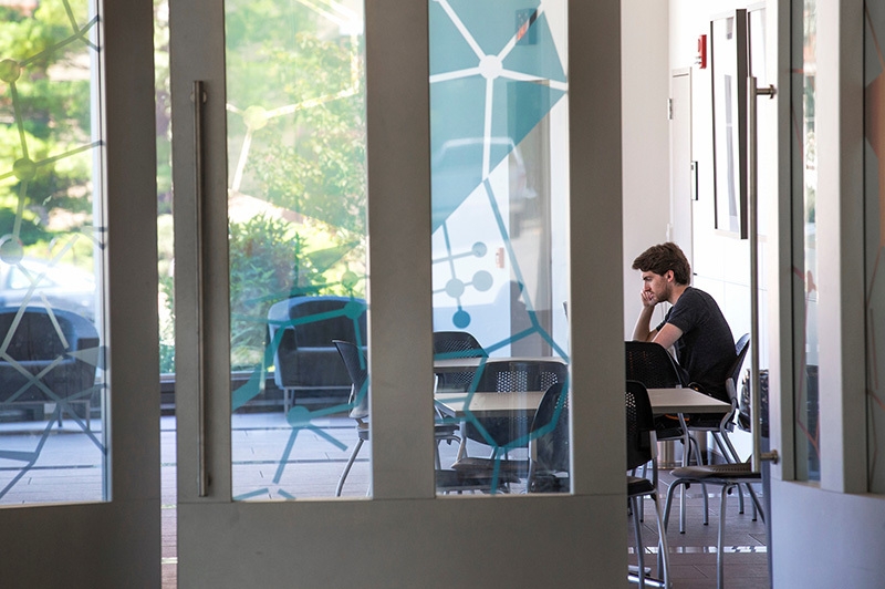 Male student studies in the Hach Hall lounge