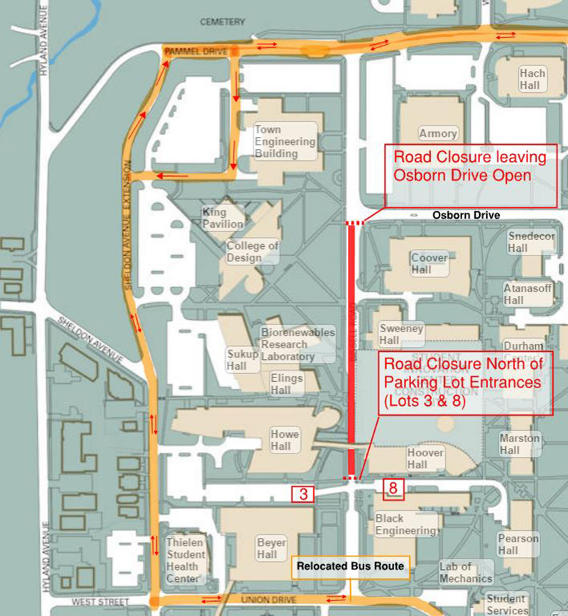 Campus map indicating road closure section