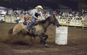 Barrel racing competitor in action