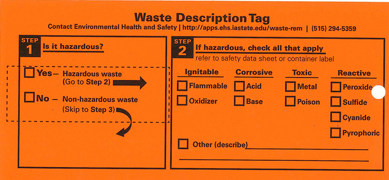 Front side of orange hazardous waste tag