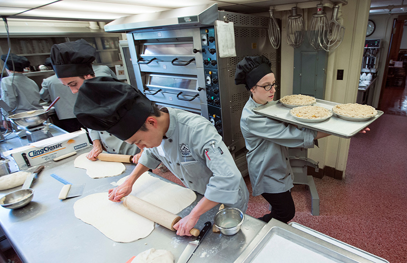 Student chefs at work in the kitchen