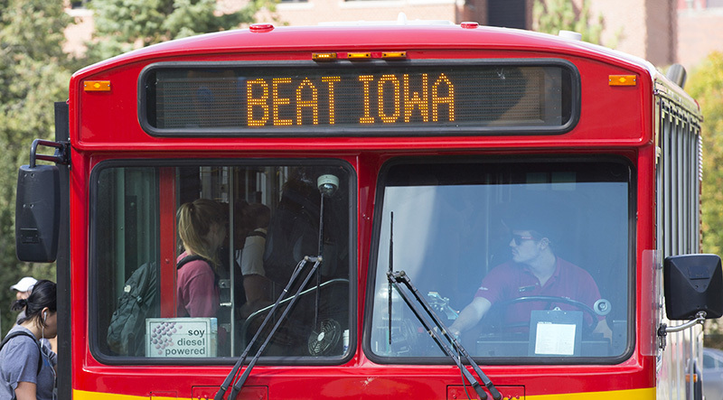 Beat Iowa sign on CyRide bus