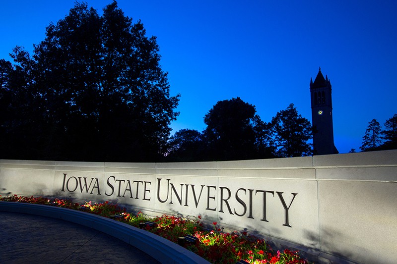 ISU Wall and campanile at night