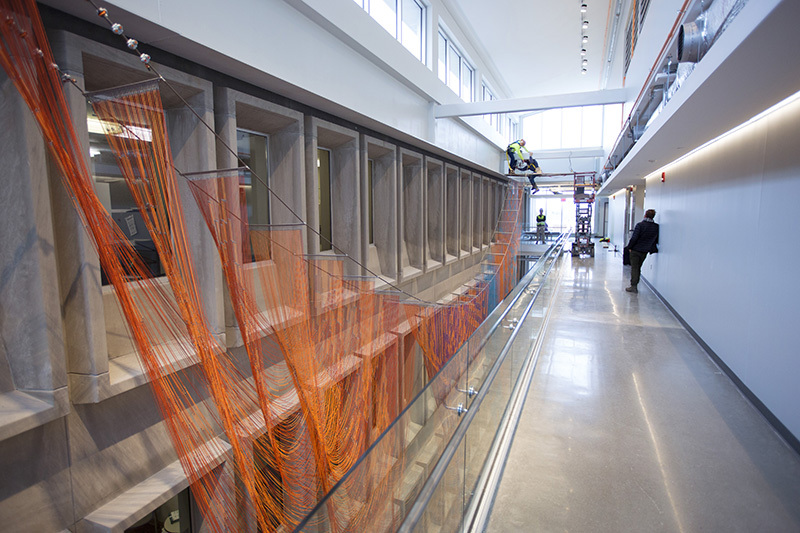 """Y in the Road"" sculpture hangs in Bessey atrium"