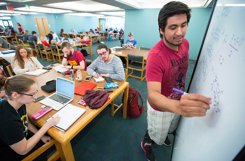 student leads math study session at library table