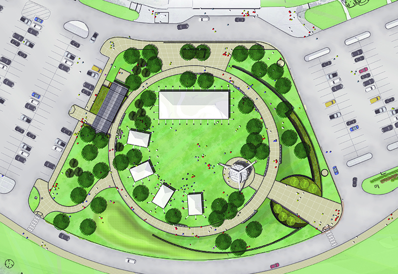 Sketch of stadium south plaza