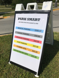 Sign showing increased parking fines