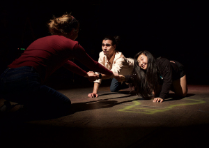 "Student actors rehearse for the ""Iowa Odyssey"" production."