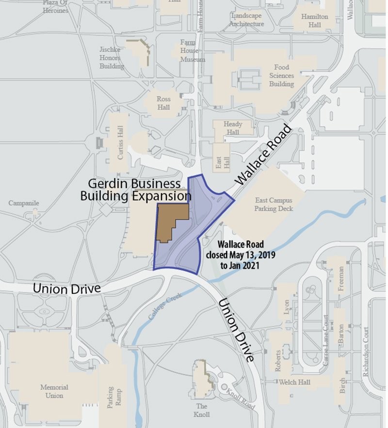campus map showing closures around Gerdin Building