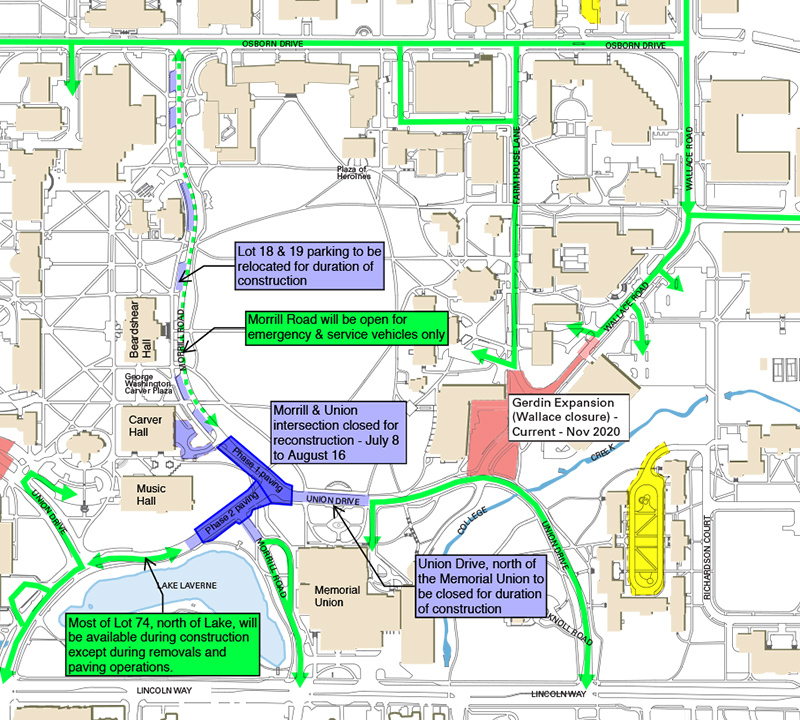 central campus map showing road closures