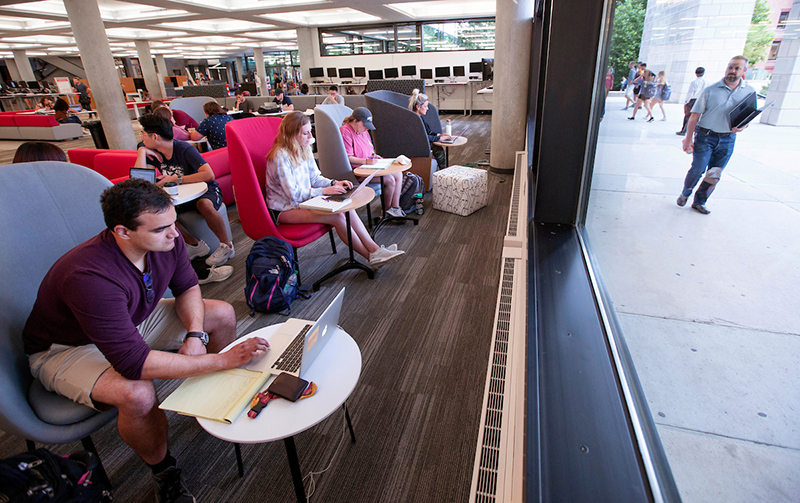 Students study in new library collaboration space