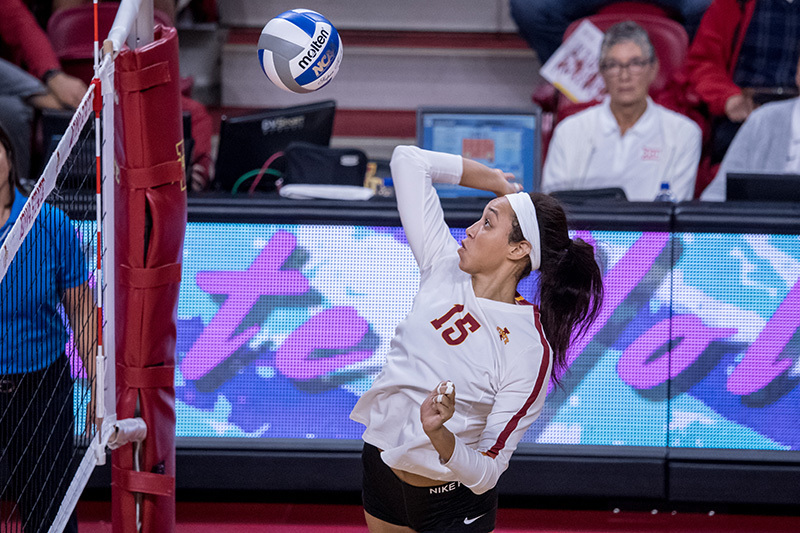 Redshirt sophomore Avery Rhodes goes up for a kill.