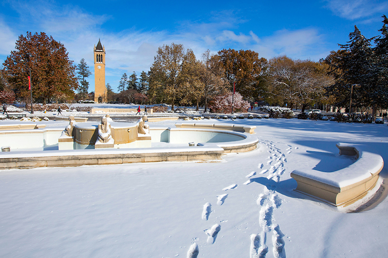 Snow covers the north lawn of the Memorial Union