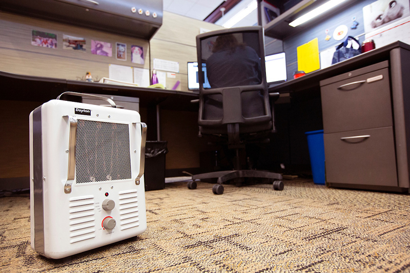 approved space heater in a workspace