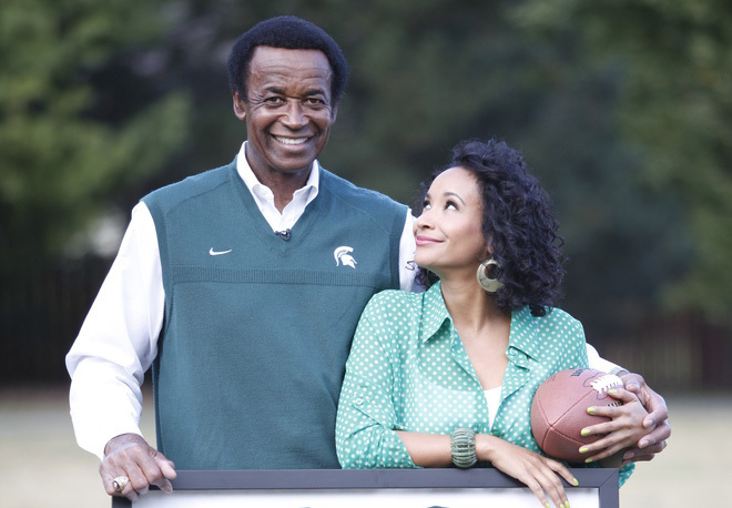 Maya and Gene Washington pose together