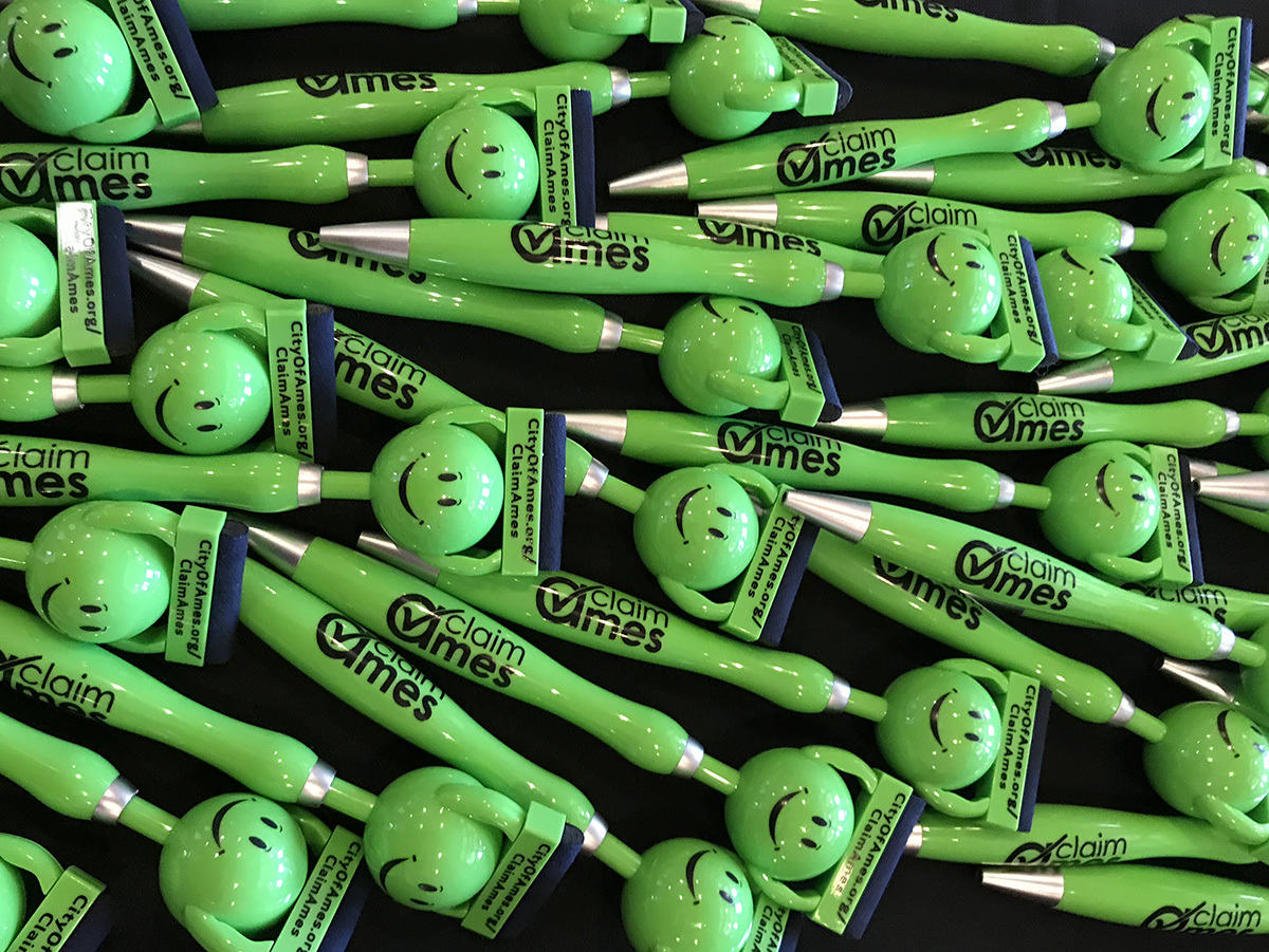 A selection of giveaway pens promoting the census