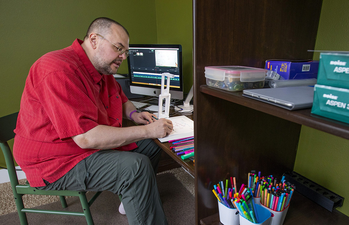 Steve Butler working from his home office