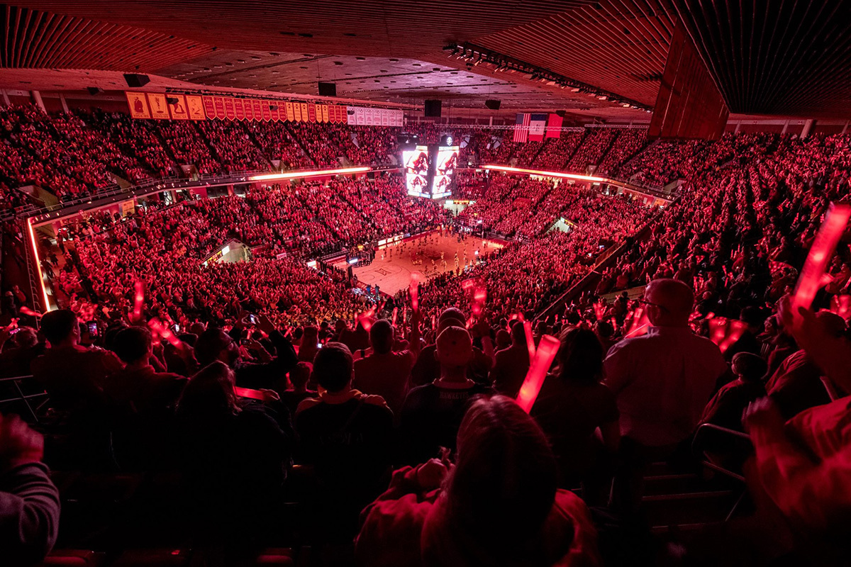 Wide angle view of a full house at an Iowa State basketball game