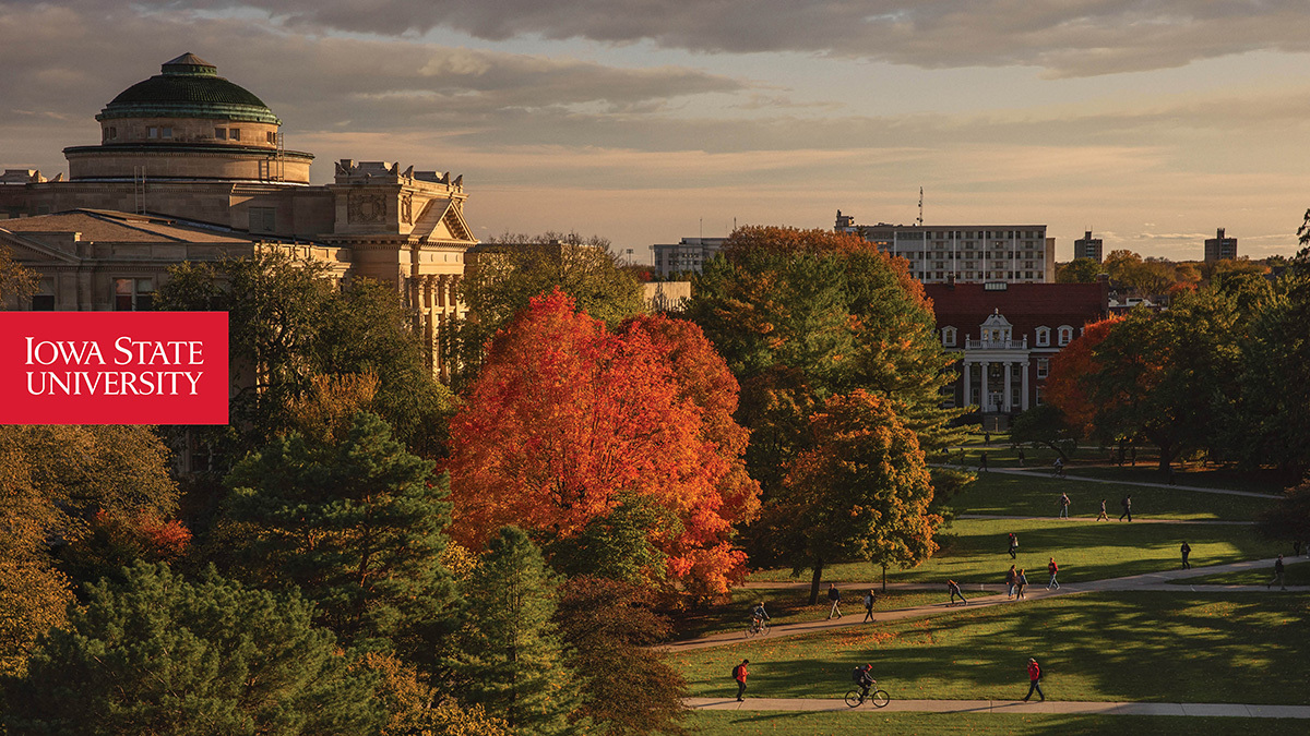 Zoom background featuring a fall view of Beardshear Hall