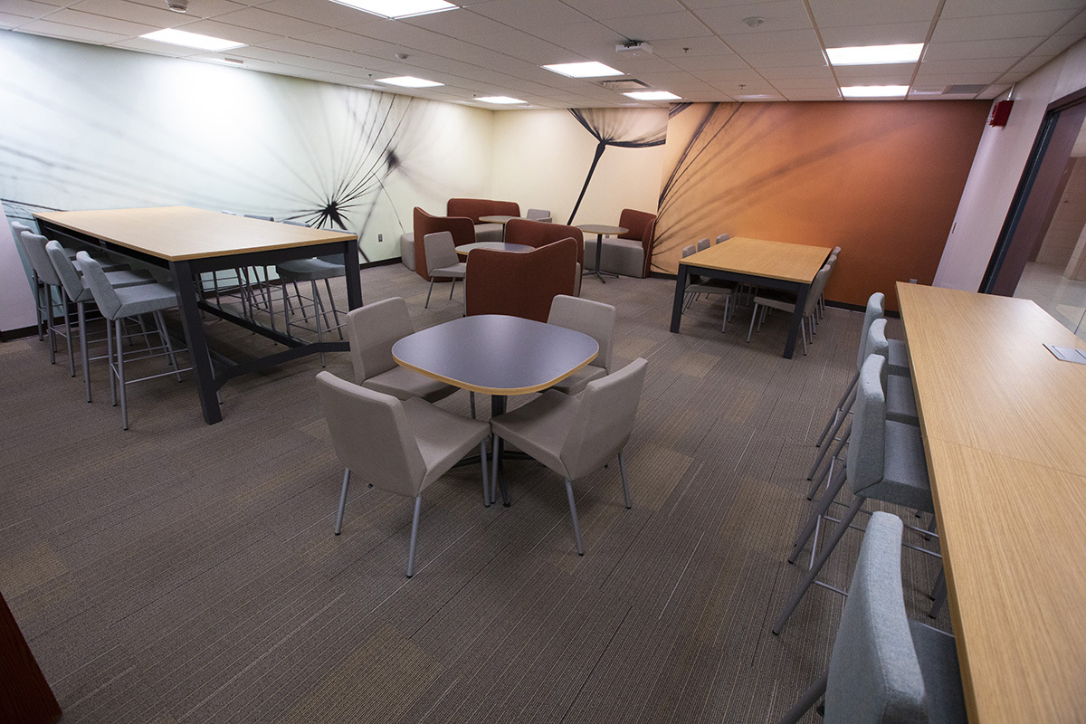 Seating areas in Bessey Hall's student space.