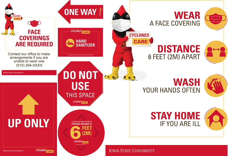 A collage of Cyclones Care messaging signage