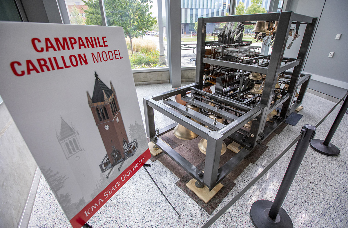 Campanile/carillon model in the Sukup Hall atrium